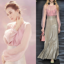 Pink perspective coat metallic long pleated skirt outfit