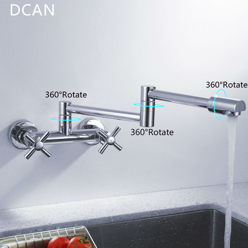 DCAN Kitchen Sink Faucets Finish Folding Kitchen Faucets Wall Mount Dual Handle Chrome Mixer Bar Taps Bathroom Sink Faucet