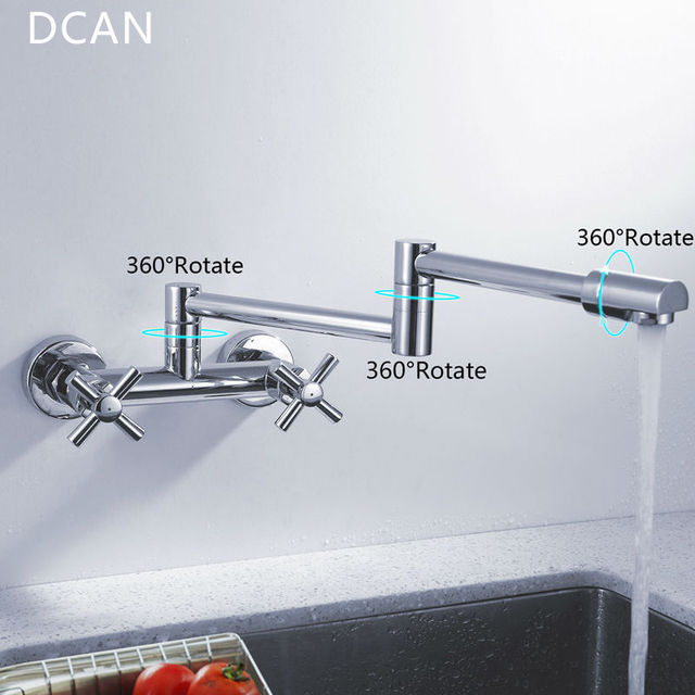 DCAN Kitchen Sink Faucets Finish Folding Kitchen Faucets Wall Mount Dual Handle Chrome Mixer Bar Taps Bathroom Sink Faucet