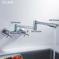 DCAN Kitchen Sink Faucets Finish Folding Kitchen Faucets Wall Mount Dual Handle Chrome Mixer Bar Taps