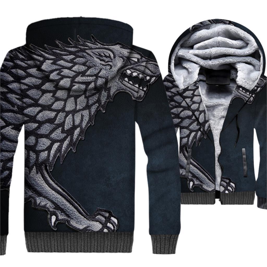 2018 New Fashion Streetwear Hoodies Men Jackets WINTER IS COMING Stark House 3D Pattern Men's Sweatshirts Game Of Thrones Hoodie