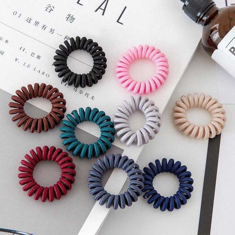 5 PCS Telephone Wire Line Cord Striped Wrap Black Cloth Hair Ring Elastic Hair Band Girl's Hair Scrunchy Accessories For Women