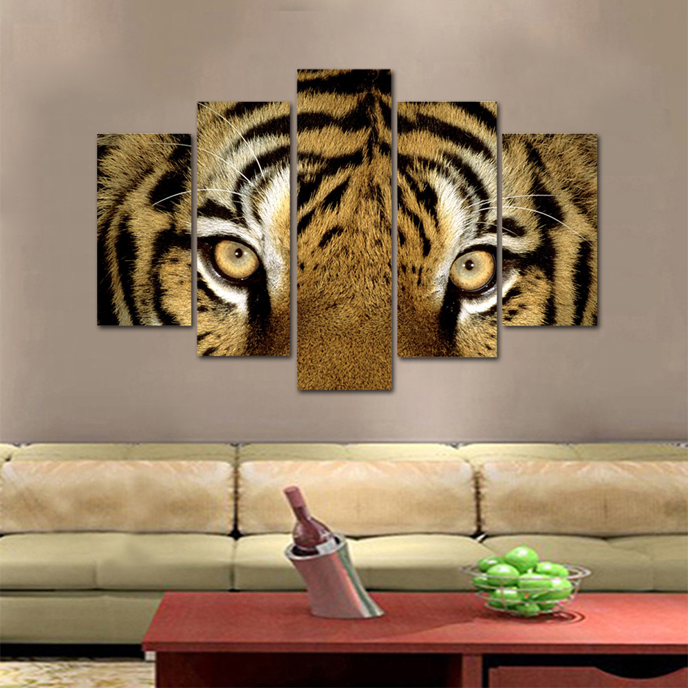 Unframed HD Print 5 Canvas Art Painting Tiger Living Room Decoration Spray Painting Mural Unframed Free Shipping