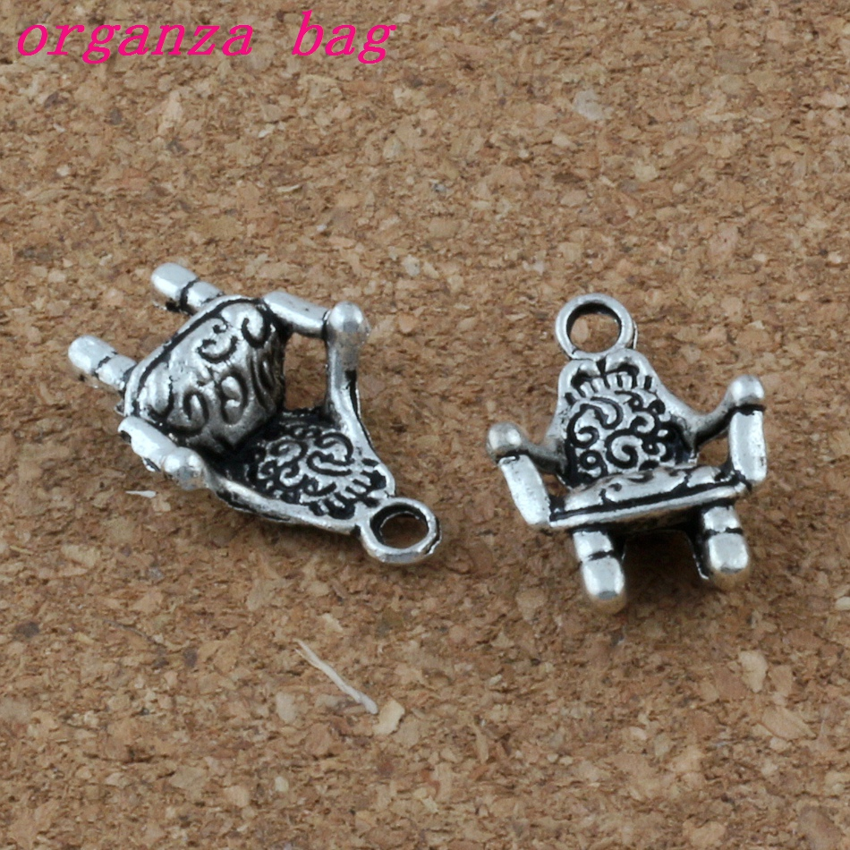 100pcs/lot 3D Chair Sofa Charm Pendants 100Pcs/lot Hot sell Antique Silver Jewelry DIY 13.5x20X5mm A-181
