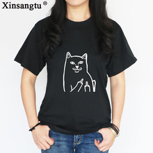 Фотография Xinsangtu Harajuku Style Middle Finger Cat T Shirt Funny Graphic Print Tee Shirt Go Away Short Sleeve Hipster Tee Shirt Tops