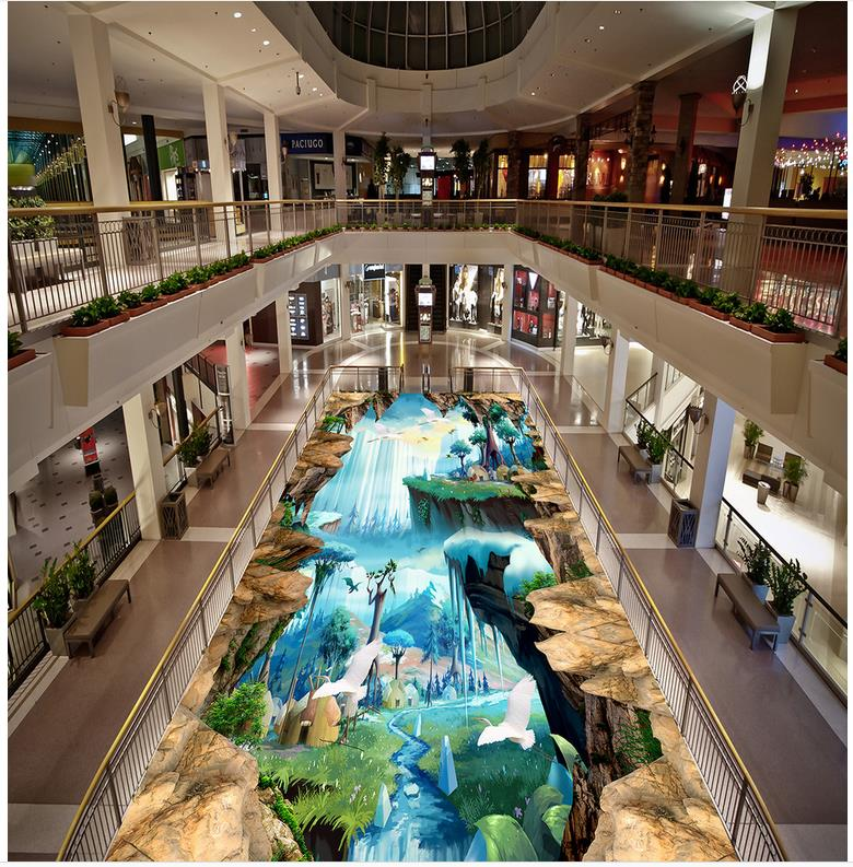 Modern Custom 3D floor mural 3d game animation outdoor to draw to stick self-adhesive PVC Wallpaper andy beane 3d animation essentials