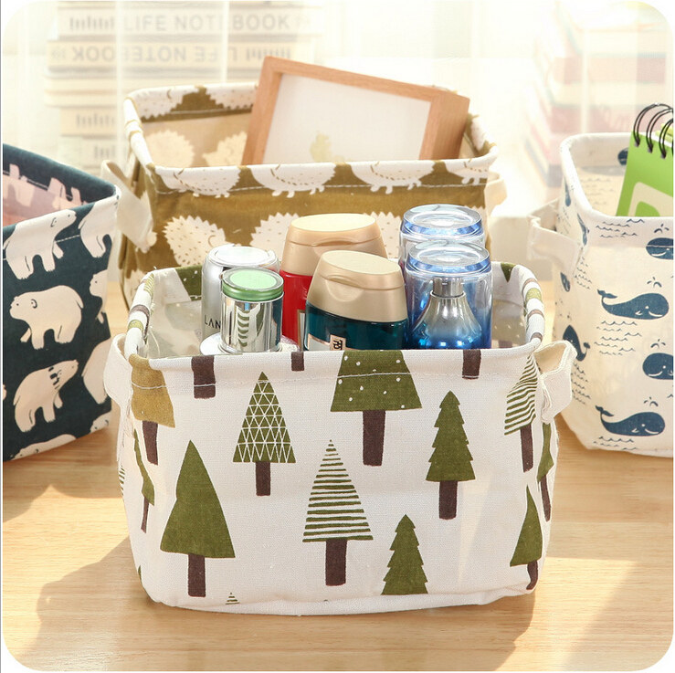 Bear/ Fish/Tree/Hedgehog Linen Desk Storage Box Holder Jewelry Cosmetic Stationery Organizer Case
