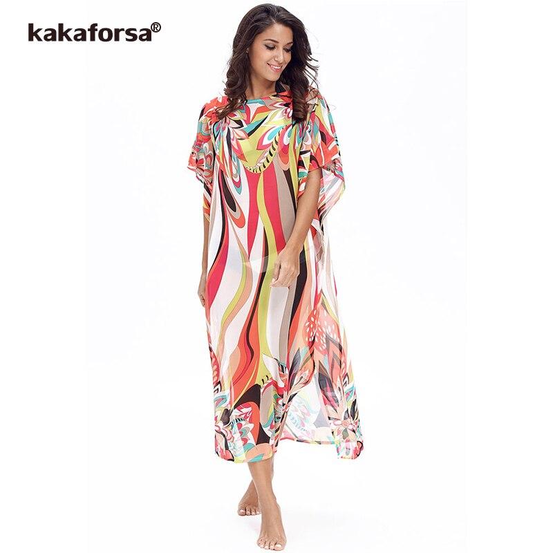 40bd866555643 Kakaforsa Women's Chiffon Cover-ups Kaftan Beach Dress Sarongs Pareos  Bikini Cover up Cape for a Swimsuit Robe De Plage