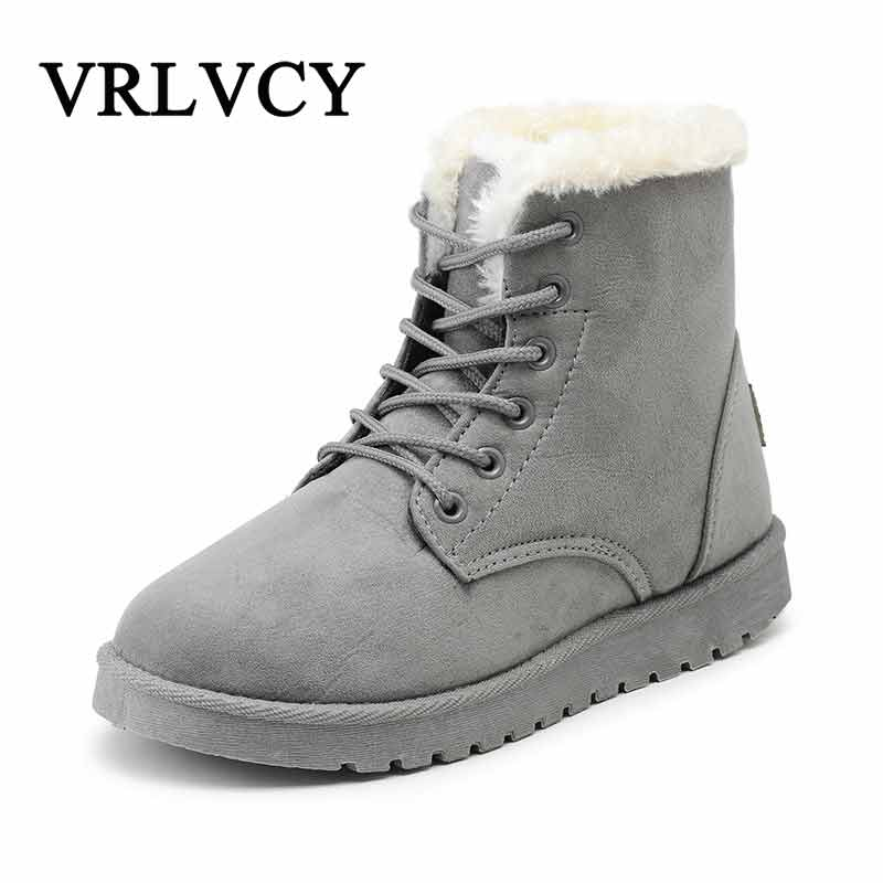 Classic Women Winter Boots Suede Ankle Snow Boots Female Warm Fur Plush Insole High Quality Botas Mujer Winter Shoes For Ladies маркер флуоресцентный centropen 8722 1о оранжевый 8722 1о