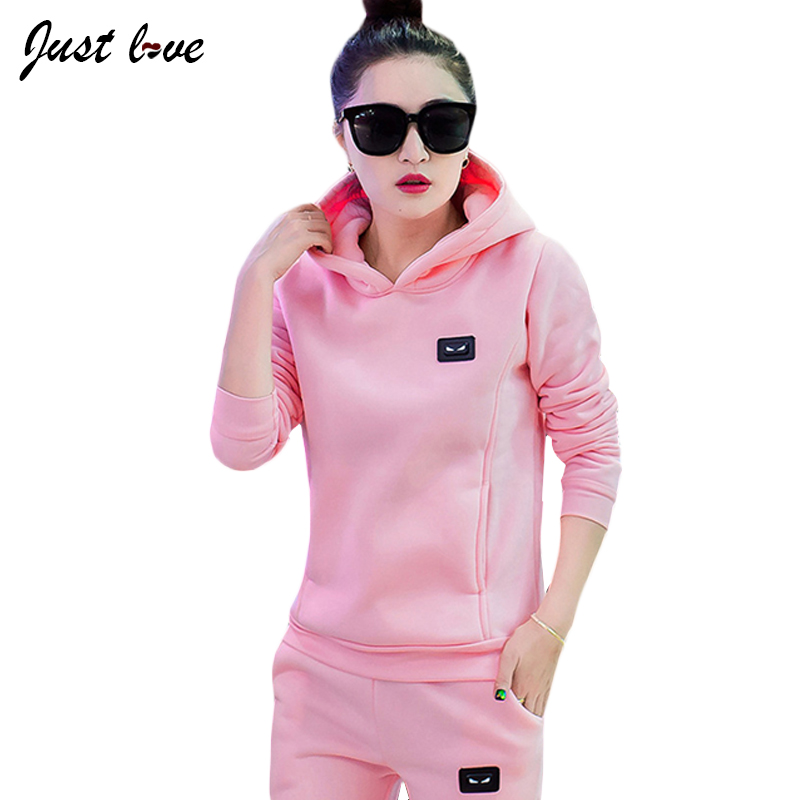 Women Tracksuits Sets 2017 Fashion Autumn Winter Fleece Hooded Thicken Two Piece Set Hoodies and Pants