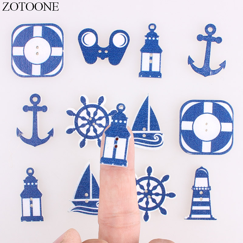 ZOTOONE 50PCS Mixed Cartoon Anchor Button Decoration Wooden Buttons Craft For Clothings Sewing Accessories Scrapbooking Handmade