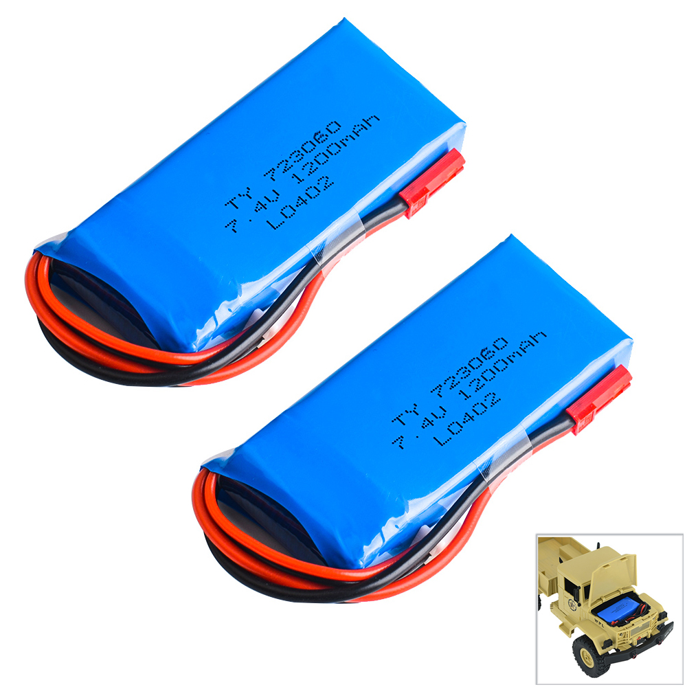 2 pcs/lot Rc Lipo Batterie 7.4 v 1200 mAh 2 S 30C JST Plug Batterie pour HC6 Rc Voiture Rc Quadcopter