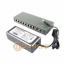 DSLRKIT 250 м 10 порты 8 PoE выключатель инъектор мощность по Ethernet 52 в 120 Вт max140W для IP камера/беспроводной AP/CCTV камера системы