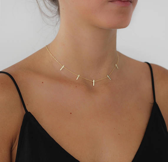 simple bar polished bar dainty delicate 5 link chain bar charm fashion women wholesale jewelry bar necklace