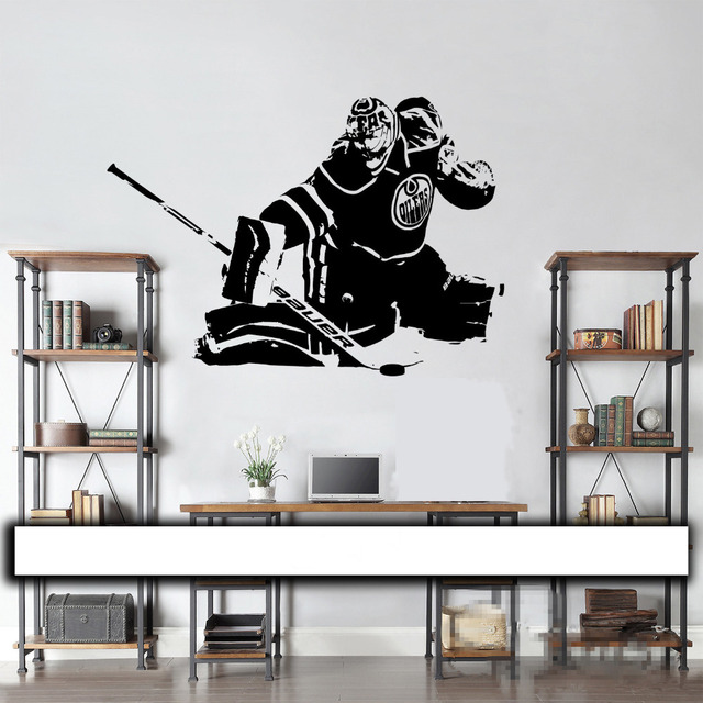 Hockey Goalie Wall Decal / Wall Art Vinyl Sticker Edmonton Oilers