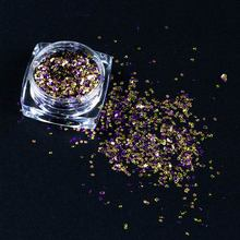 Saviland Glitter Hexagon Sequins Holographic Powders Mermaid Chrome Pigment Holo Dust Manicure Nail Art Decoration Tool