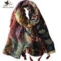 Mujeres Floral Print Foulard largo de gran tamaño bufandas y chales camiseta del estilo de Bohemia bufanda de la flor de las muchachas de la borla larga Bandana