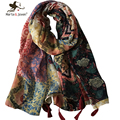 Women Floral Print Foulard Oversized Long Scarves and Shawls Ladies Bohemia Style Flower Scarf Girls Long Tassel Bandana