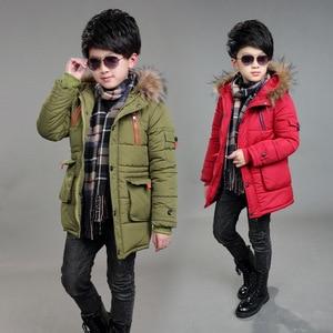 Image 5 - Kinderen Dubbele Rits Jassen Jongens Verdikking Bontkraag Capuchon Katoenen Jas Kinderen Winter Bovenkleding Jassen