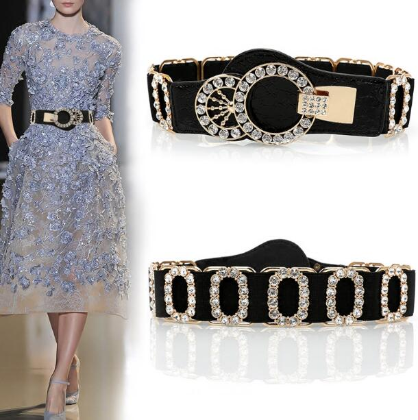 Women's Runway Fashion Leather Diamonds Elastic Cummerbunds Female Dress Corsets Waistband Belts Decoration Wide Belt R1465