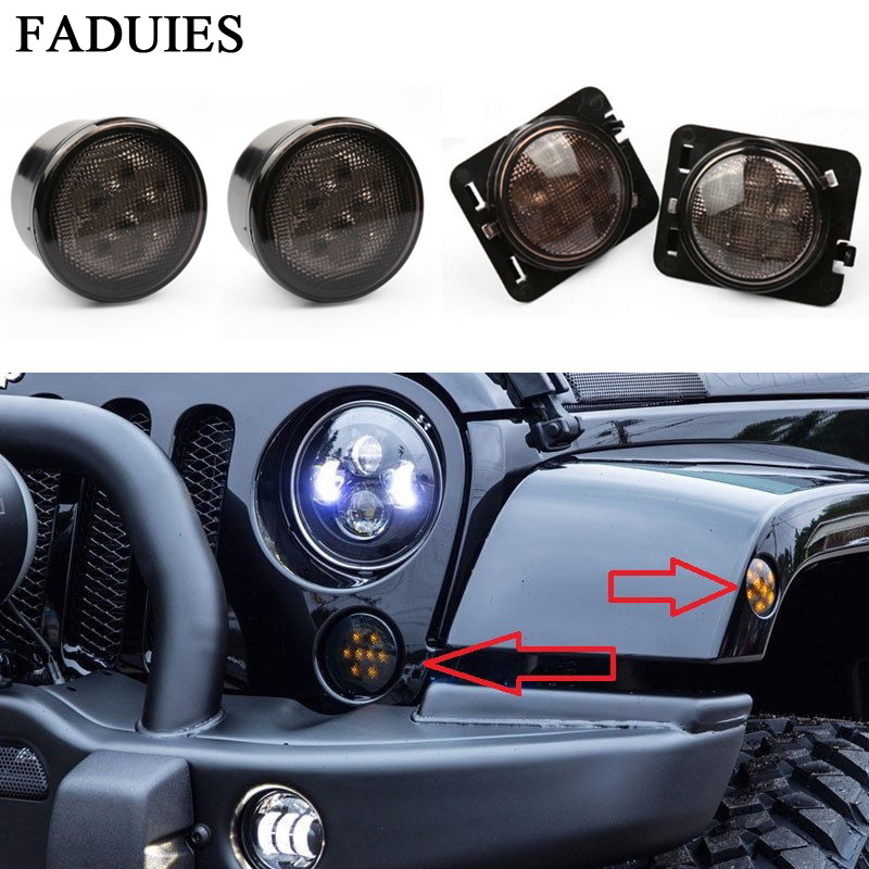 FADUIES 2Psc Amber Front LED Turn Signal Light Assembly For 2007~2016 Jeep Wrangler JK Turn Lamp Fender Led Light  Smoke Lens 4pcs black led front fender flares turn signal light car led side marker lamp for jeep wrangler jk 2007 2015 amber accessories