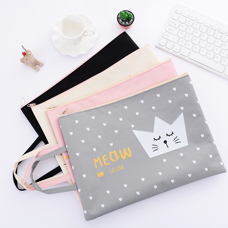 A4 Document File Bag with Handle Creative Cute Oxford Cloth Student Stationery Bag Business Document Organizer Filing Products a4 document storage bag waterproof oxford cloth multifunctional business organizer bag file folder stationery organizer zipper