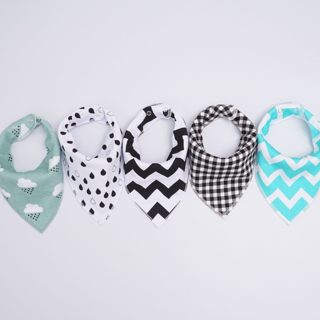 Muslin life 20 styles 4pcs/lot bibs burp cloth print Arrow wave triangle baby bibs cotton bandana accessories 2