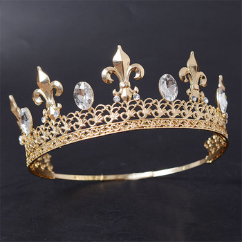 Adjustable Round Gold/Silver Wedding King Tiara Crown Headpiece For Men Party Hair Ornaments Rhinestone Head Jewelry Accessories 1