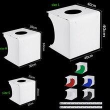 20cm 30cm 40cm Mini Portable Folding Studio Diffuse Soft Box With LED Light Black White Photography Background Photo Studio box