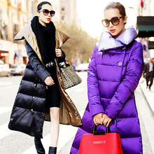 High quality luxury fashion over-the-knee long design female winter down coat plus size clothing