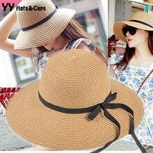 Для женщин модная соломенная шляпа Для женщин s черный с бантом из ленты шляпа козырьки Шапки для девочек Летняя шляпа пляж УФ шапки сомбреро de sol Mujer YY0097