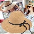 2015 мода соломенная шляпа женщин черные ленты с бантом шляпа шляпа солнца козырьки шляпы девушка шляпа летом пляж уф шапки сомбреро де золь Mujer YY0097