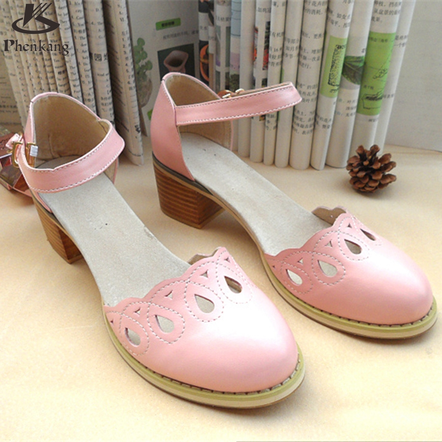 ФОТО 2017 Genuine leather pump shoe US size 9 Handmade pink beig buckle strap sandals British Institute of style oxford shoes