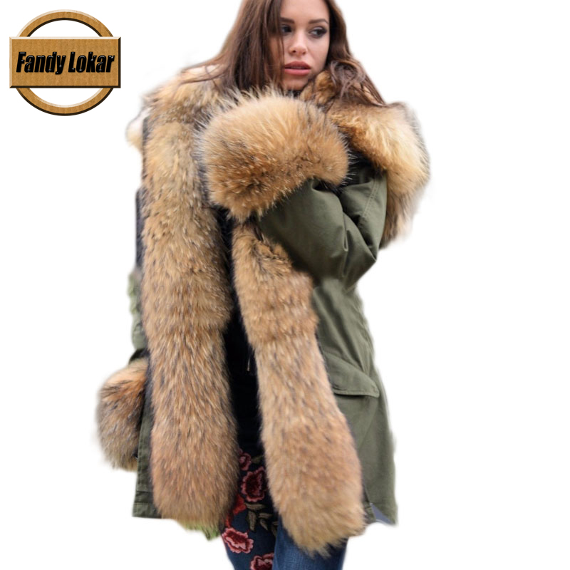 Real Fox Fur Collar Hooded Coat Women Winter Real Rex Rabbit Fur Liner Loose Warm Jacket Women Vintage Fur Parka Female red shell warm raccoon fur collar coat women winter real fox fur liner hooded jacket women long parka female ladies fp891