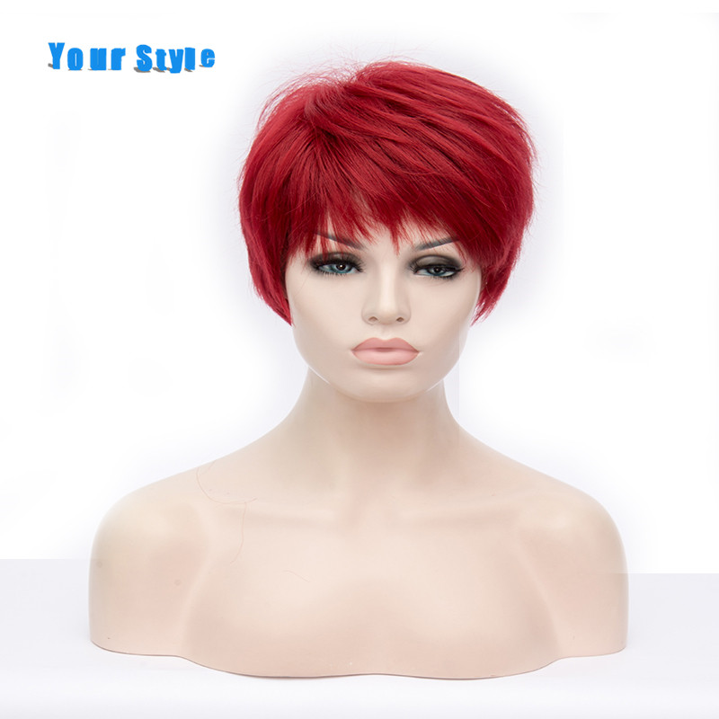 Your Style Short Cut Wigs For Black Afros Women Black Brown Red Ombre Fake Hair Wigs Hairstyles ...