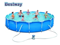 56595 Bestway 427x84cm STEEL PRO MAX FRAME POOL NEW 14' X33 Durable Outdoor Round Frame Swimming Pool Easy Set Family Pool