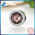 Hot Sell 100% 925 Sterling Silver Radiant Hearts Blush Pink Crystal & Clear CZ Floating Charm Fit Original Bracelet Jewelry
