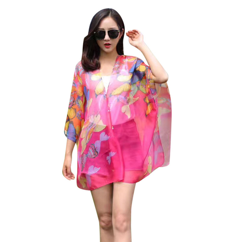 Swimwear Women Beach Tunic Bikini Cover Up Chiffon Printing Sunscreen Shawl Silk Scarf Button beach pareo Rash Guards #3j03#F (10)