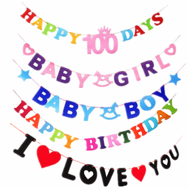 non woven fabric colorful banners baby boy girl 100 days happy