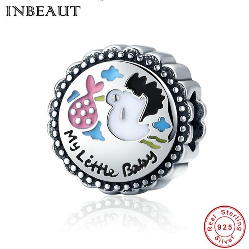 INBEAUT Trendy Designer 925 Sterling Silver Little Baby Cute Pink Fish Cartoon Carved Round Beads fit Pandora Charm Bracelet