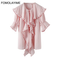 FOMOLAYIME Women Blouses 2018 Summer New Pink Stripe Ruffled Flare Sleeves Single breasted Blouse Shirt