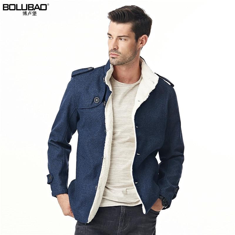 Bolubao New Winter Mens Coat Leisure Trendy Cashmere