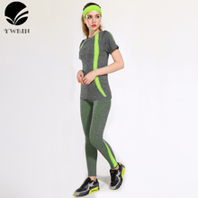 YWBIN Sportswear Gym women sport sets fitness clothing yoga set running Dry Quick suit Compression Jogging Breathable T shirt