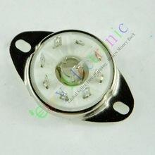 Wholesale and retail 4pcs silver 8pin Ceramic vacuum tube socket loctal valve base fr 5B254 audio amps free shipping