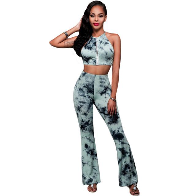 Nova moda Elegante 2 Peça Definir Mulheres Pant E Top Mulheres Rosa Black Tie-dye Two-piece calças Definir Conjunto Feminino