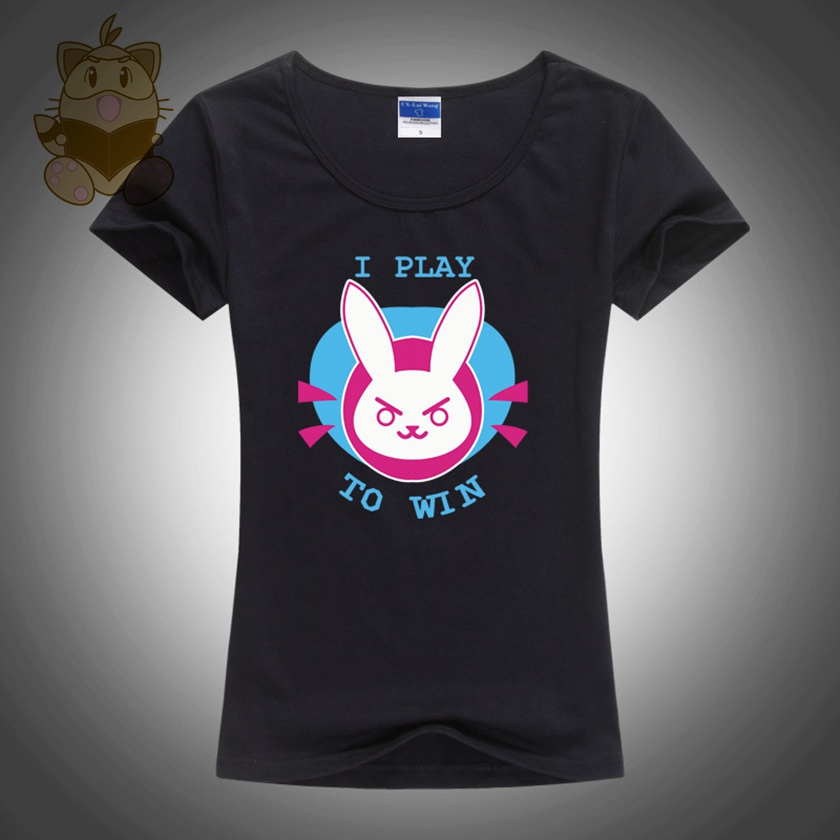 2017 lovely shirt Cute cartoon t shirt for girl hot game OW character DVA I PLAY TO WIN lady t shirt pink white colors ac248-g