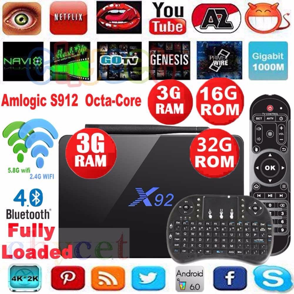 Prix pour [Véritable] X92 3g 16g 3G/32G Android 6.0 TV Box Amlogic S912 Octa Core 2.4G 5G Wifi 4 K 3D H.265 Smart tv media player Set Top boîte