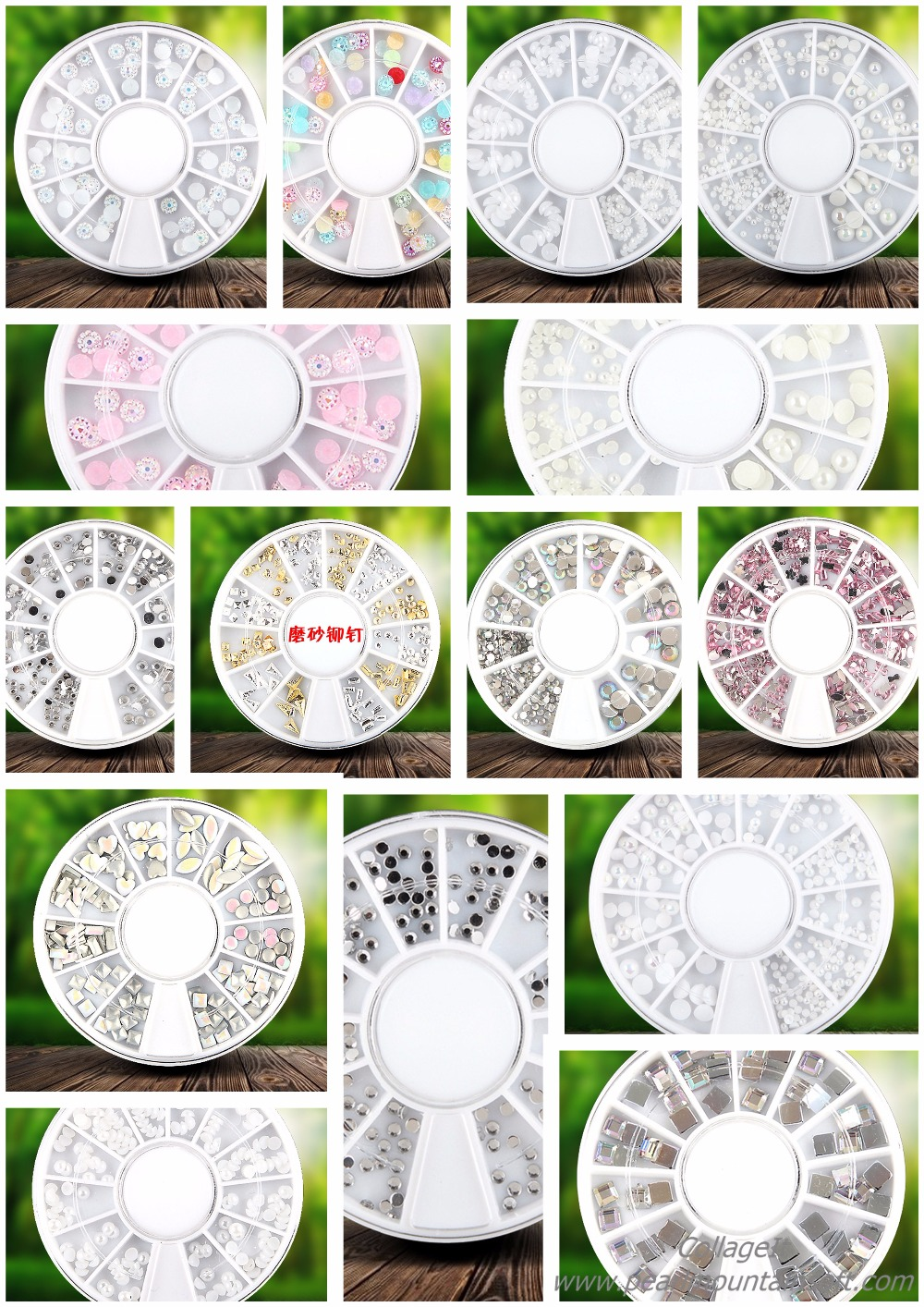 New 3D Charms Cystal Colourful Nail Art Decoration Wheel,Acrylic Nail Art Rhinestones Different shapes Manicure Supplies