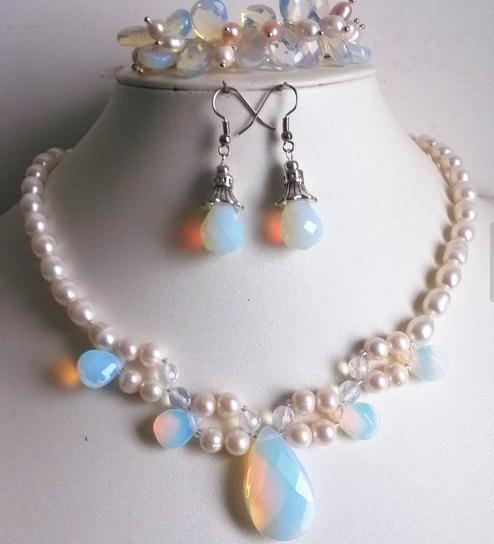 Perfect Pearl Jewelry Set White Color Freshwater Opal Necklace Bracelet Earrings Fashion Lady S Wedding Party Gift In Sets From