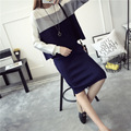 Fashion autumn winter women knit 2 Piece Skirt Set Woman Clothing Set 2016 Knee-length skirt stripe sweater and pullovers